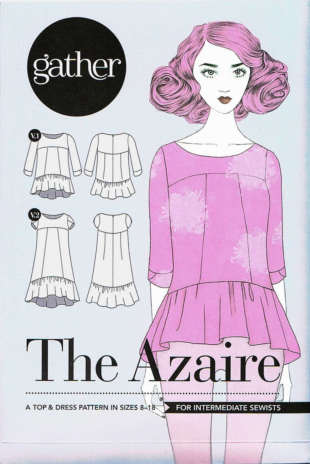 Gather azaire top and dress sewing pattern jeuxipadfo Image collections