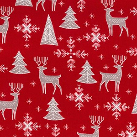 Christmas fabric - Scandi Reindeer and Trees - per quarter metre