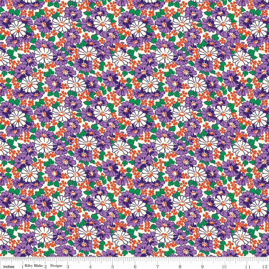 Daisy Purple Hope Chest Penny Rose fabrics - per quarter metre