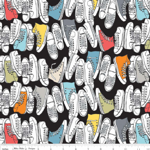 Geekly Chic - Sneakers - Black Riley Blake - per quarter metre