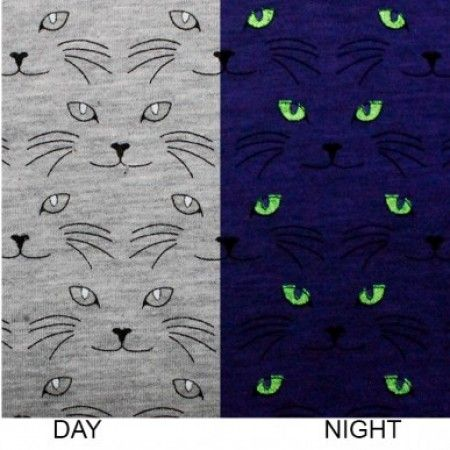 Glow In The Dark Jersey Cats - per quarter metre