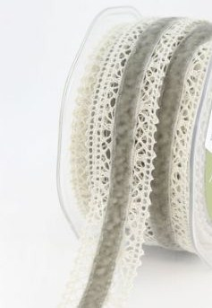 Grey Velvet Lace Trim