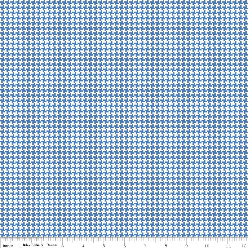 Houndstooth Blue Hope Chest Penny Rose fabrics - per quarter metre