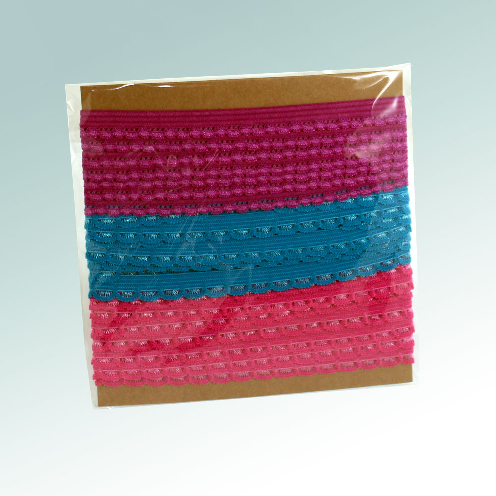 Knicker elastic pack - Pink Berry and Turquoise