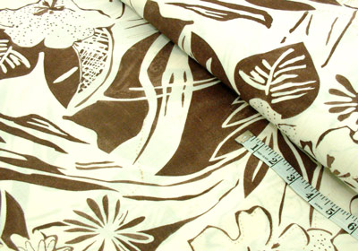 Leafy brown linen dressmaking fabric