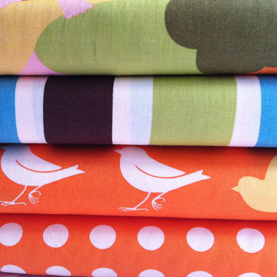 Oh Deer! 4 fat quarter quilting bundle Tangerine