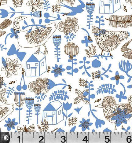 Village Sketch Fabric Carolyn Gavin - per quarter metre