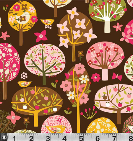 Village Trees Fabric Carolyn Gavin - per quarter metre