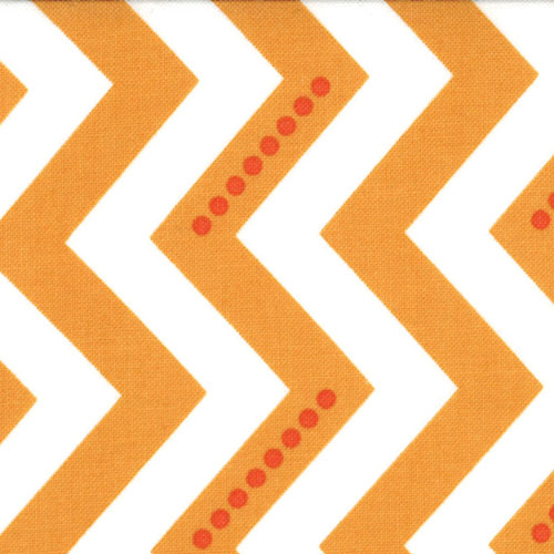 White and Sweet Tangerine Dotted Zig Zag Fabric - per quarter metre